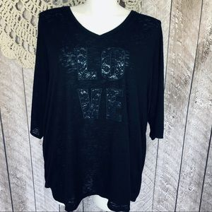 Catherines 2X Lace Graphic shirt tee top Blouse